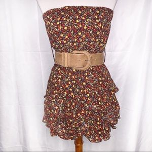 [Chesley] Strappless Ruffle Floral Dress - Size M